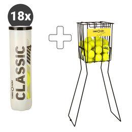 Classic Tennisball 4er 18 Dosen plus Ballkorb